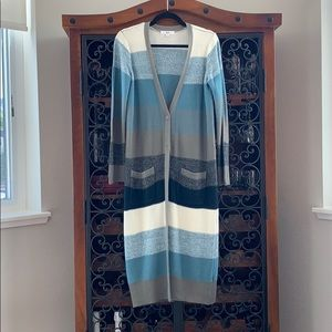 Long Striped Cardigan Duster